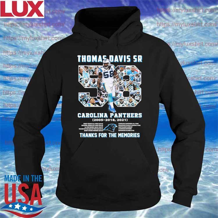 Thomas Davis Sr 58 Carolina Panthers 2005-2018,2021 thanks for the memories signature s Hoodie