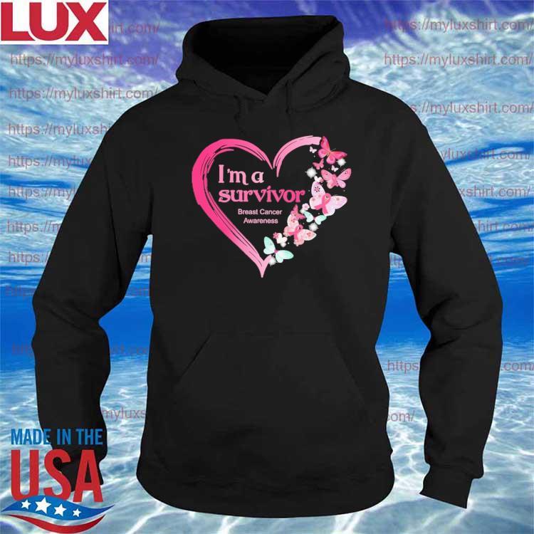Official Heart Butterflies pink I'm A Survivor Breast Cancer Awareness s Hoodie