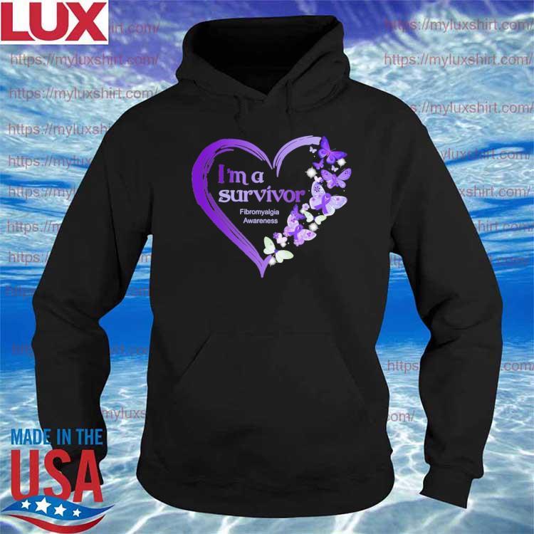 Official Heart Butterflies purple I'm A Survivor Fibromyalgia Awareness s Hoodie