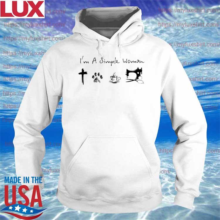 Official I'm A Simple Woman Cross Paw Coffee Sewing s Hoodie