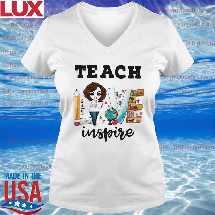 Teacher Love Name Here Inspire Back to School s V-neck