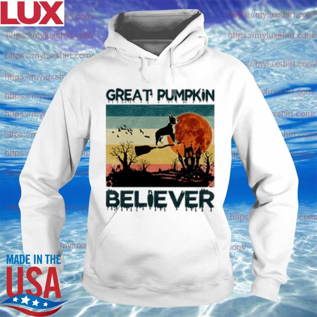 Boston Terrier Great Pumpkin Believer vintage s Hoodie