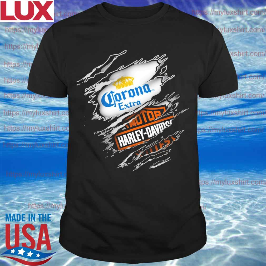 Blood inside Corona extra and Motor Harley Davidson shirt