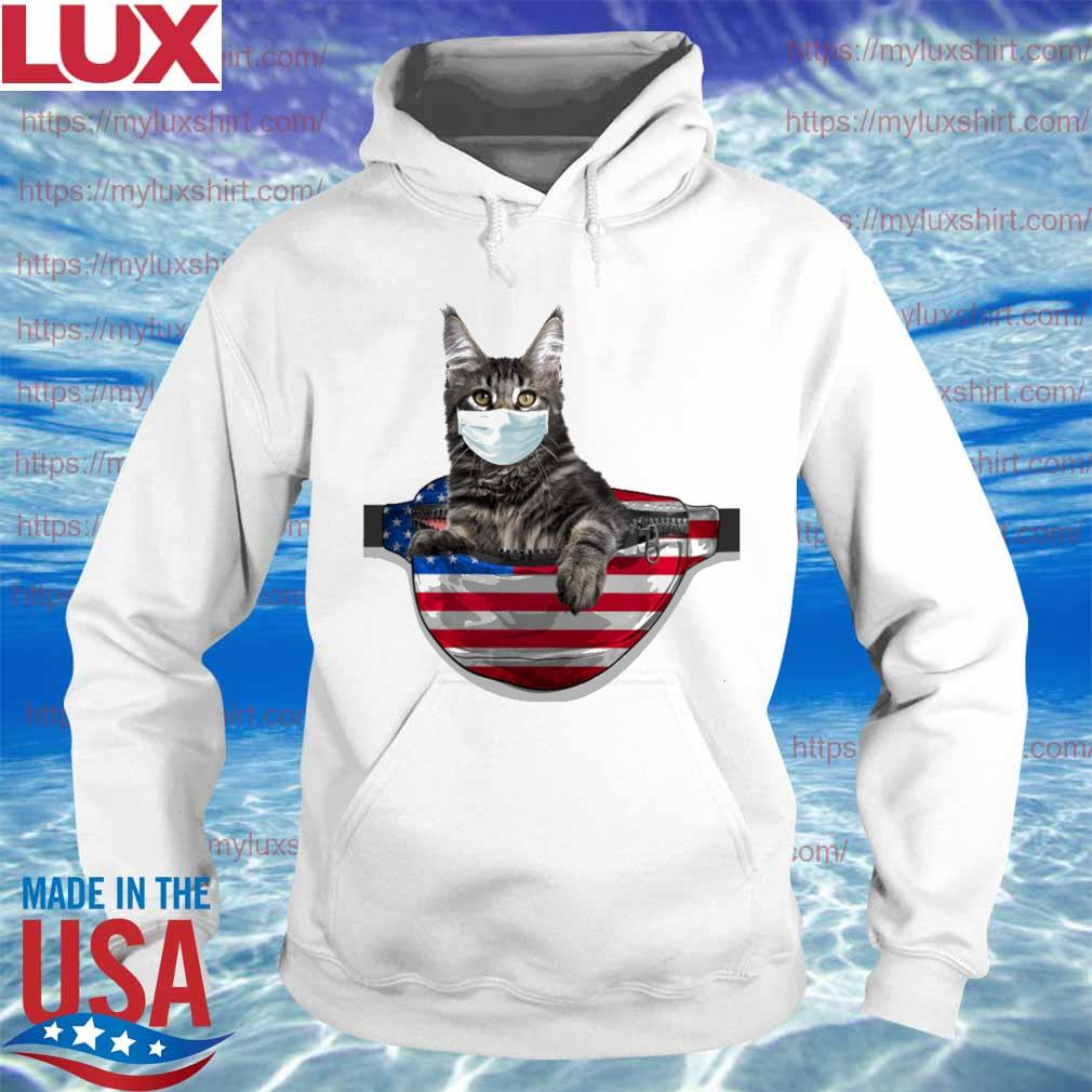 Cat face mask bag hug America flag s Hoodie