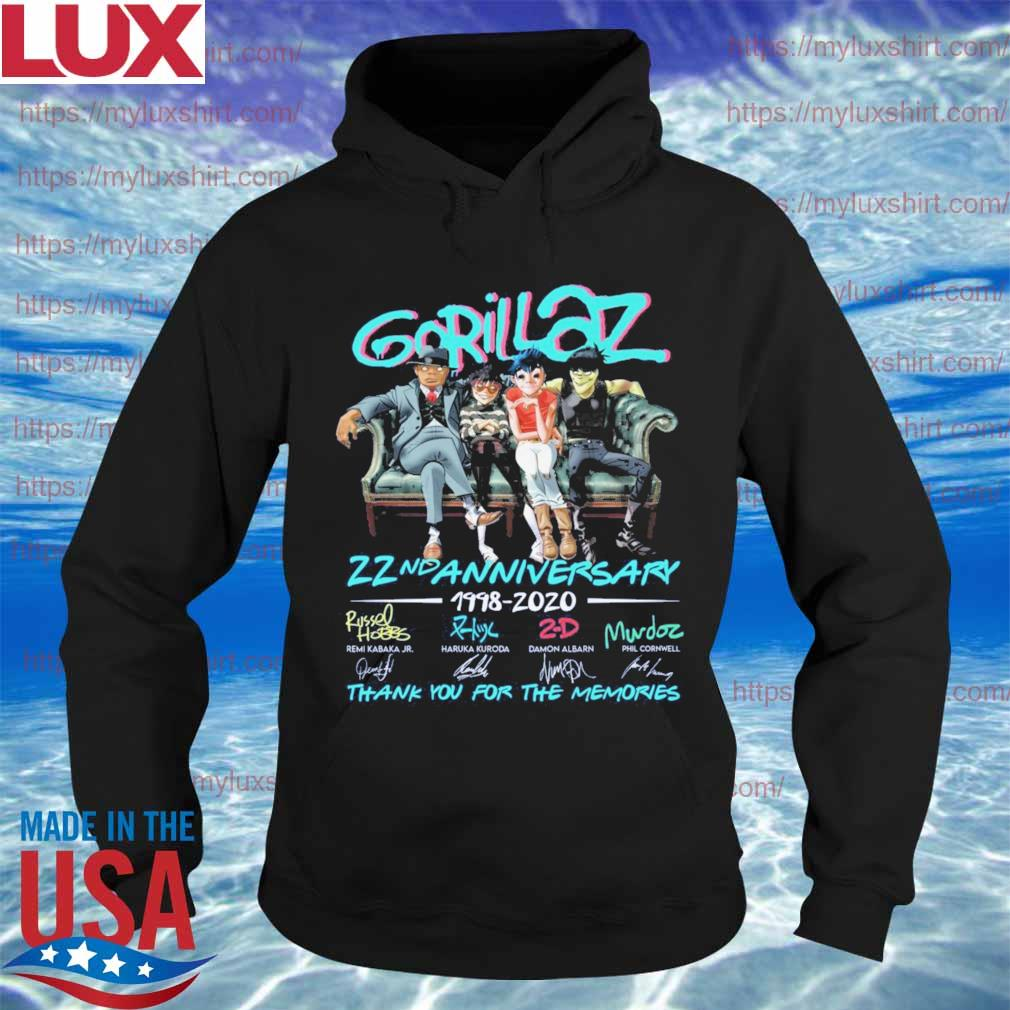 Gorillaz band 22nd Anniversary 1998 2020 thank you for the memories stay home signatures s Hoodie