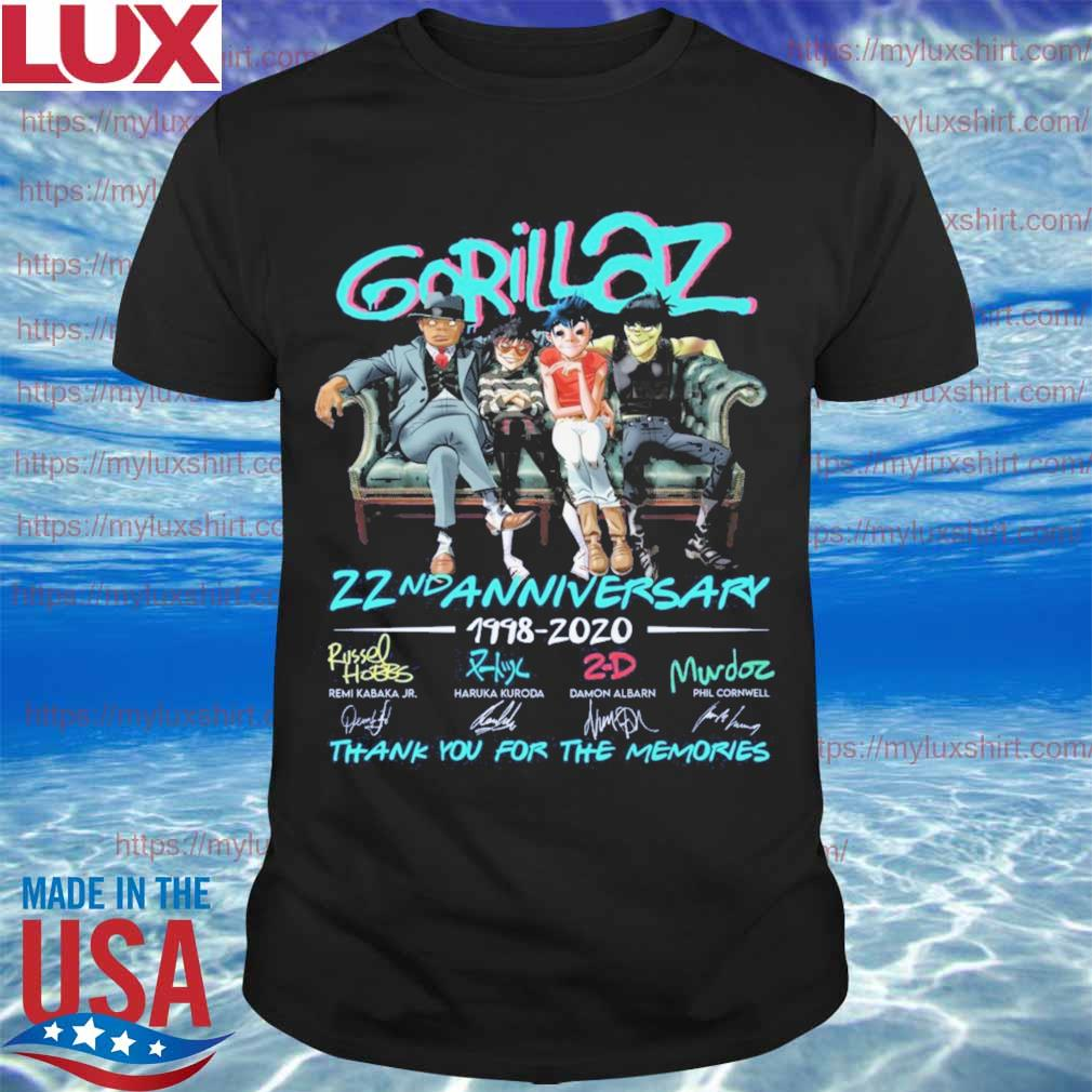 Gorillaz band 22nd Anniversary 1998 2020 thank you for the memories stay home signatures shirt