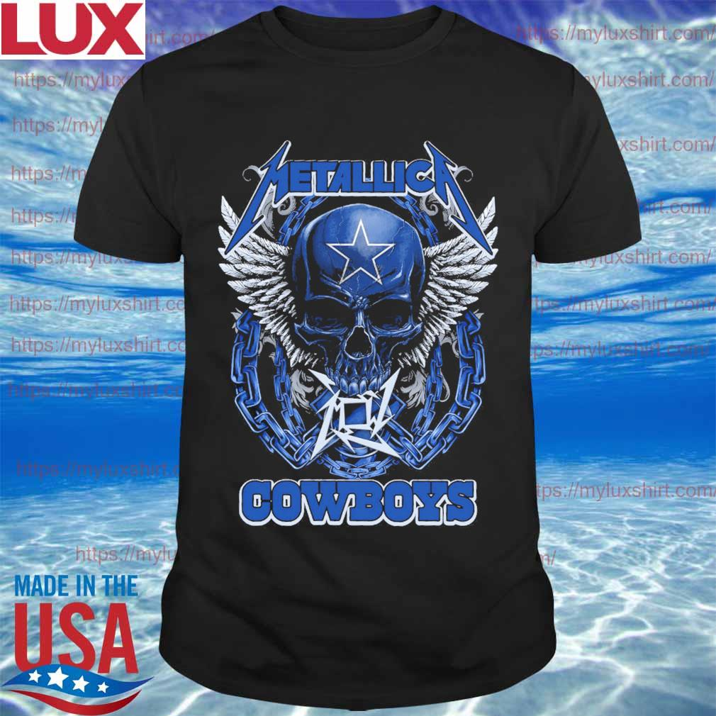 Metallica band skull Dallas Cowboys angel shirt