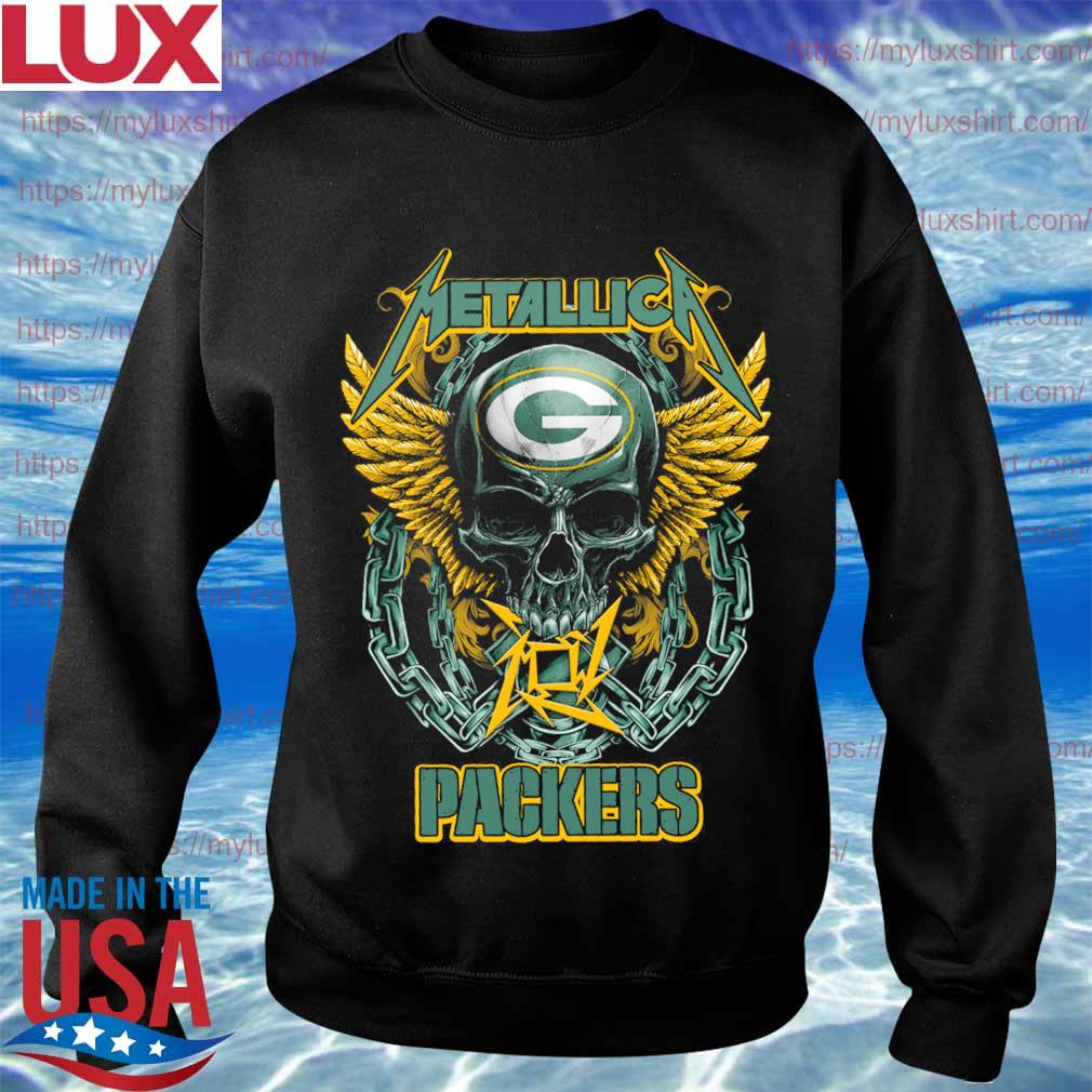 Metallica band skull Green Bay Packers s Sweatshirt