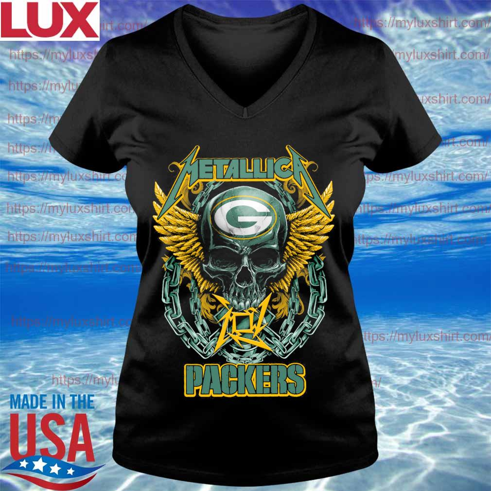 Metallica band skull Green Bay Packers s V-neck