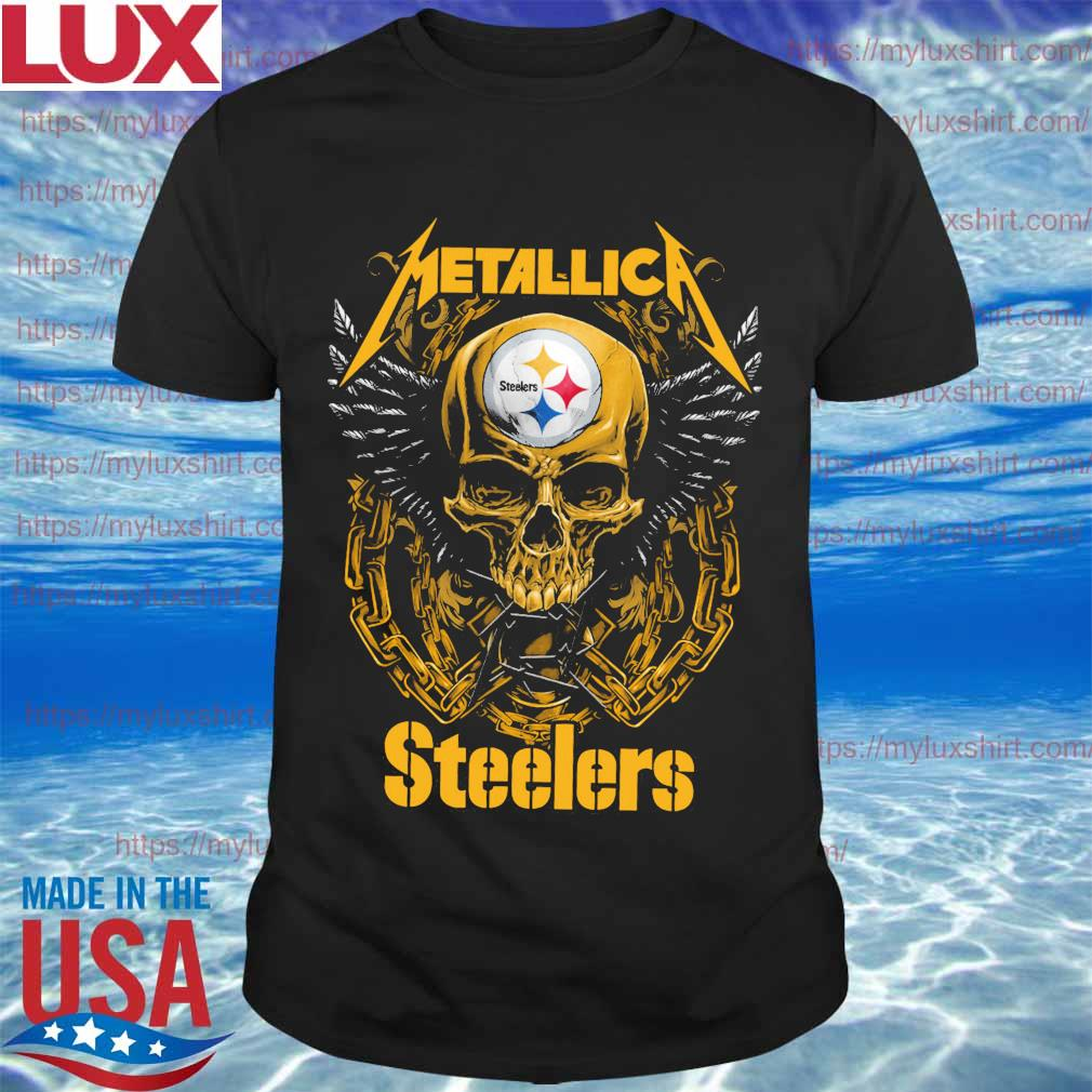 Metallica band skull Pittsburgh Steelers shirt