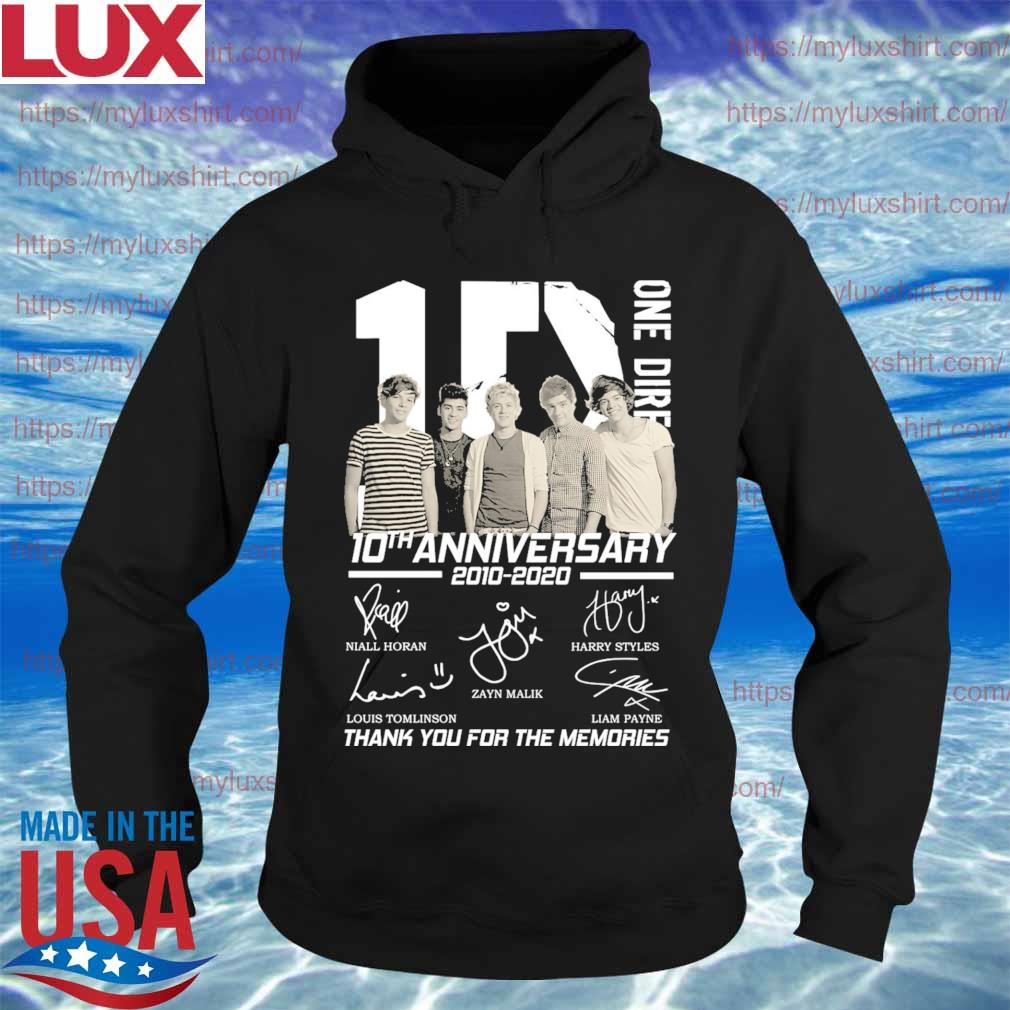 One Direction band 10th anniversary 2010-2020 thank you for the memories signatures s Hoodie