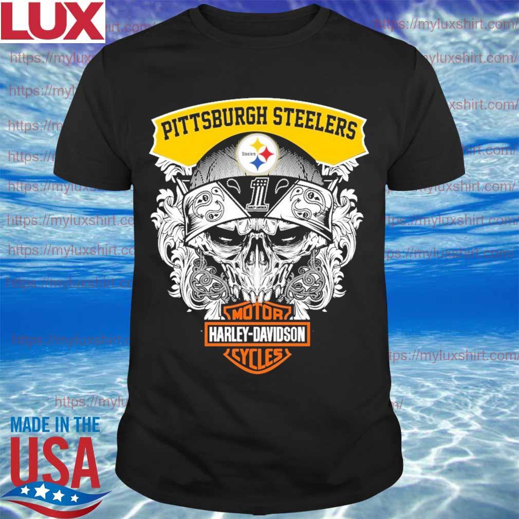 Skull Motor Harley Davidson Pittsburgh Steelers shirt