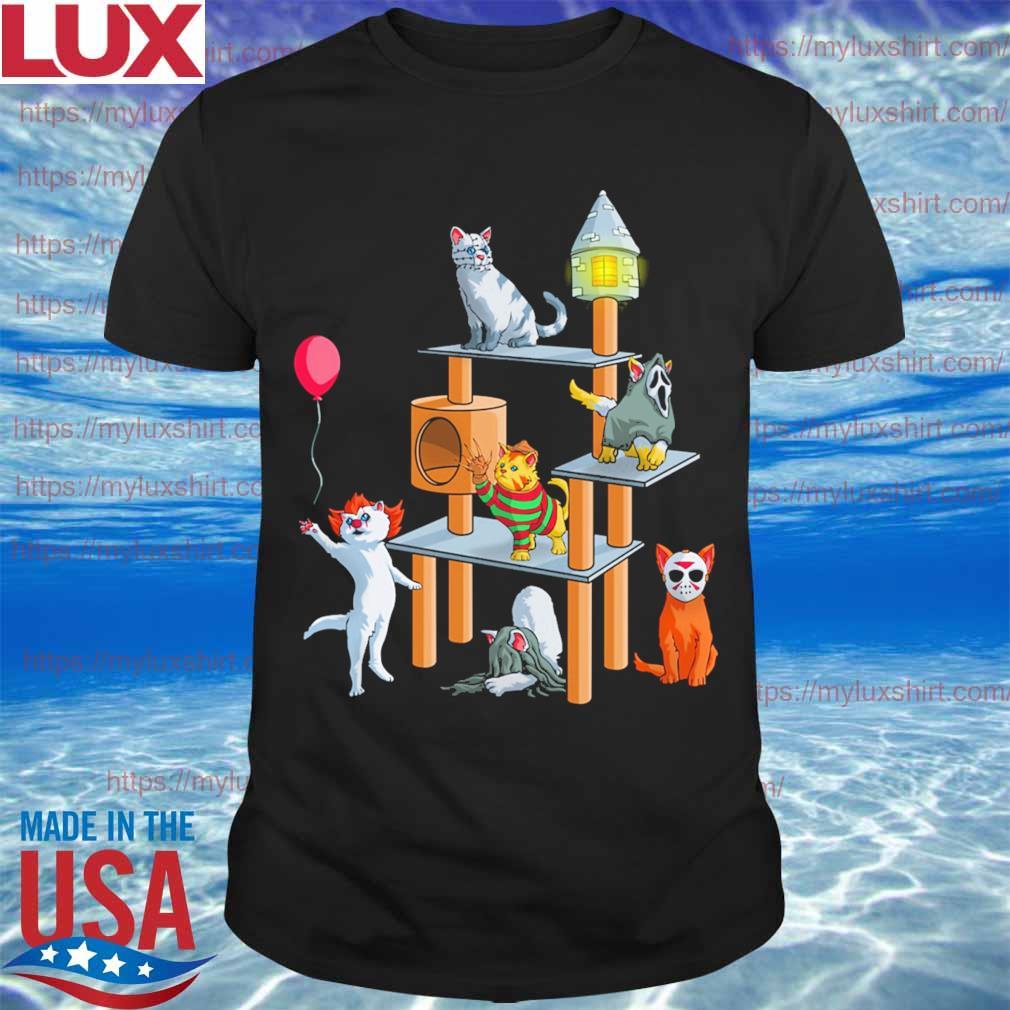 Funny Cat Horror movie character playground happy Halloween shirt