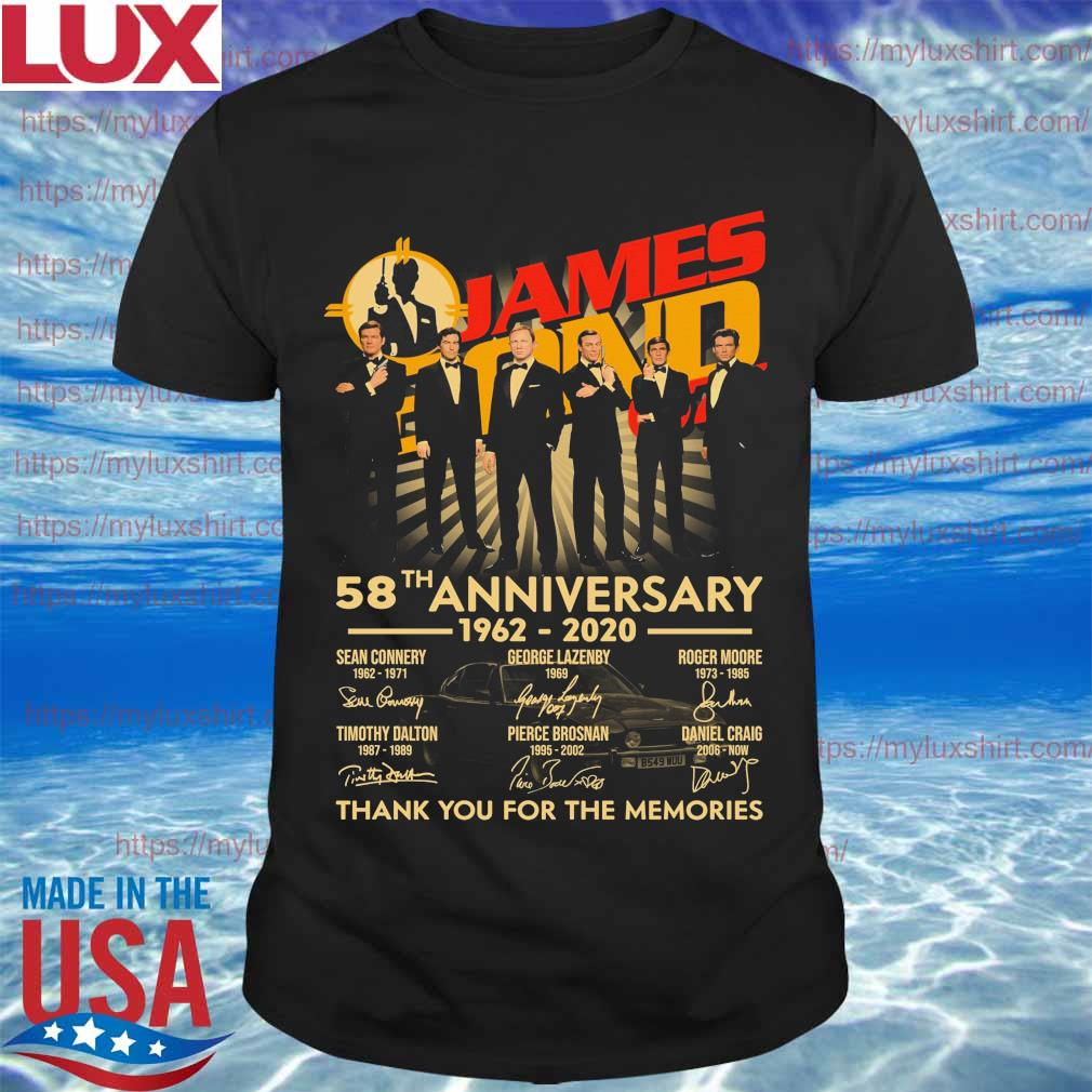 James Bond 58th anniversary 1962 2020 thank you for the memories signatures shirt