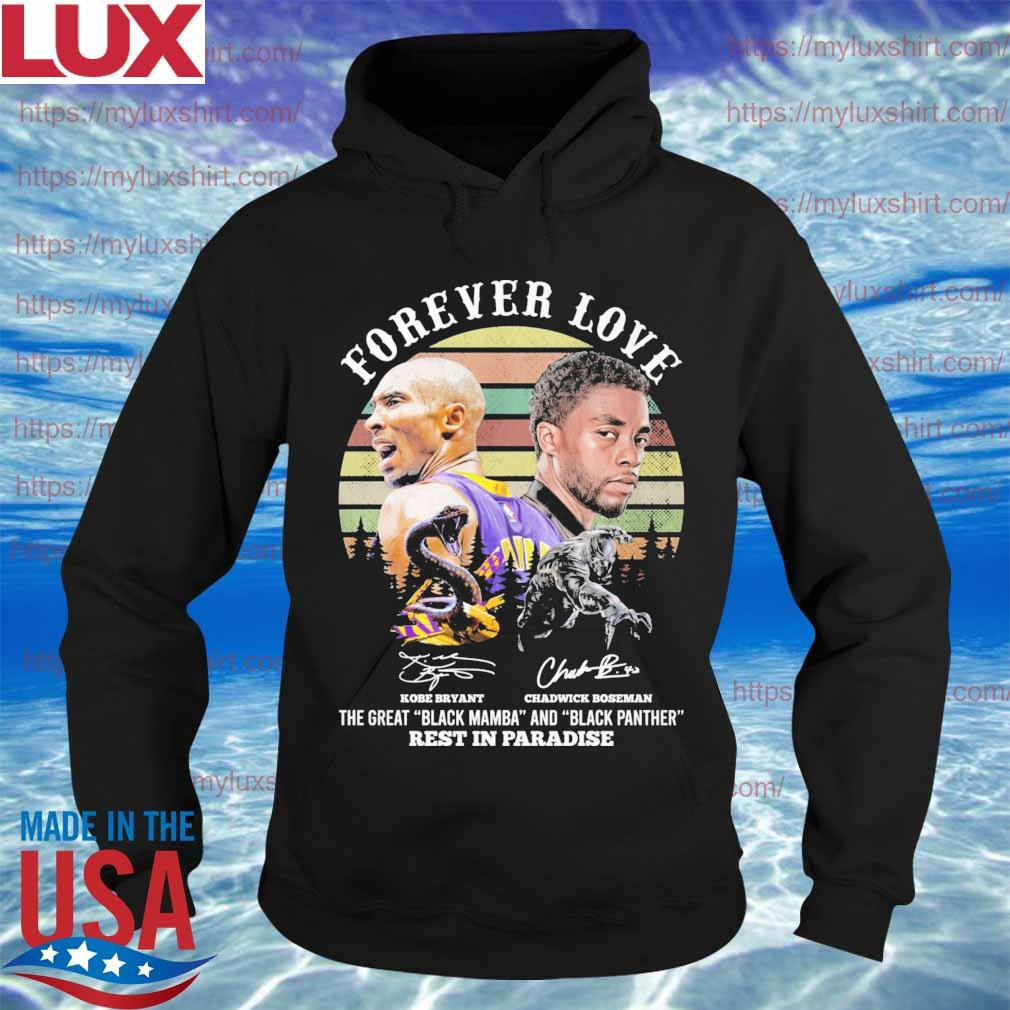 Kobe Bryant and Chadwick Boseman forever love rest in paradise signatures vintage s Hoodie