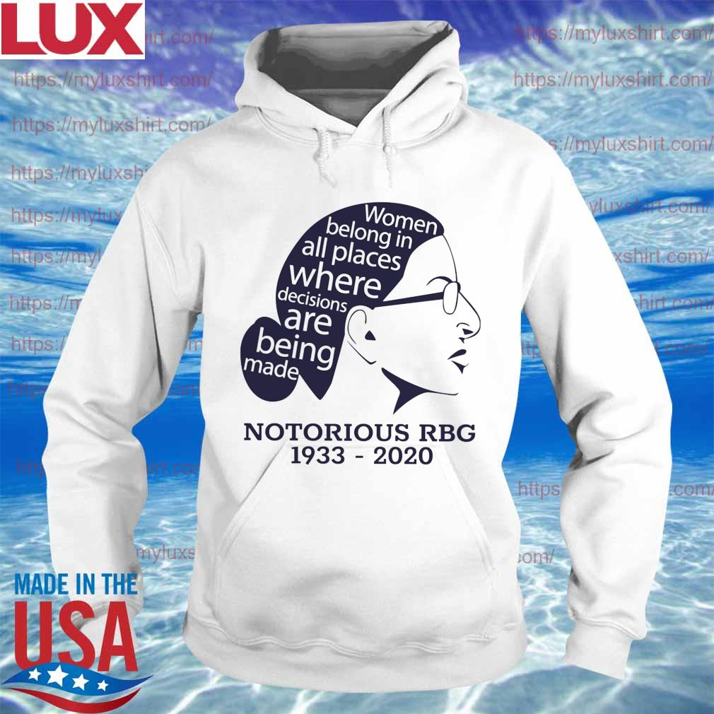 Officail Notorious RBG 1933 2020 Woman belong in all places where decisions are being made s Hoodie