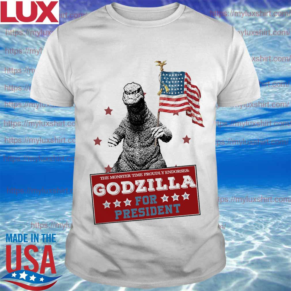 The monster time proudly endorses Godzilla for president America flag shirt