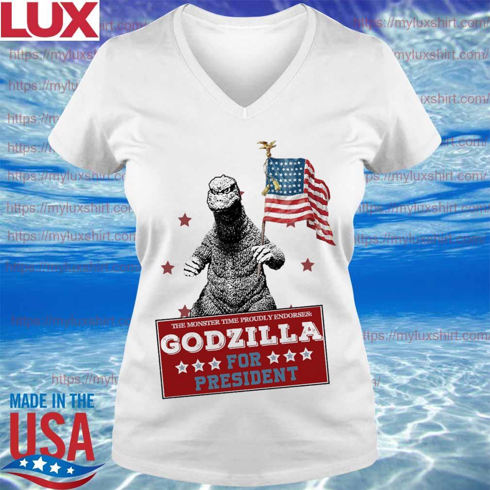 The monster time proudly endorses Godzilla for president America flag s V-neck
