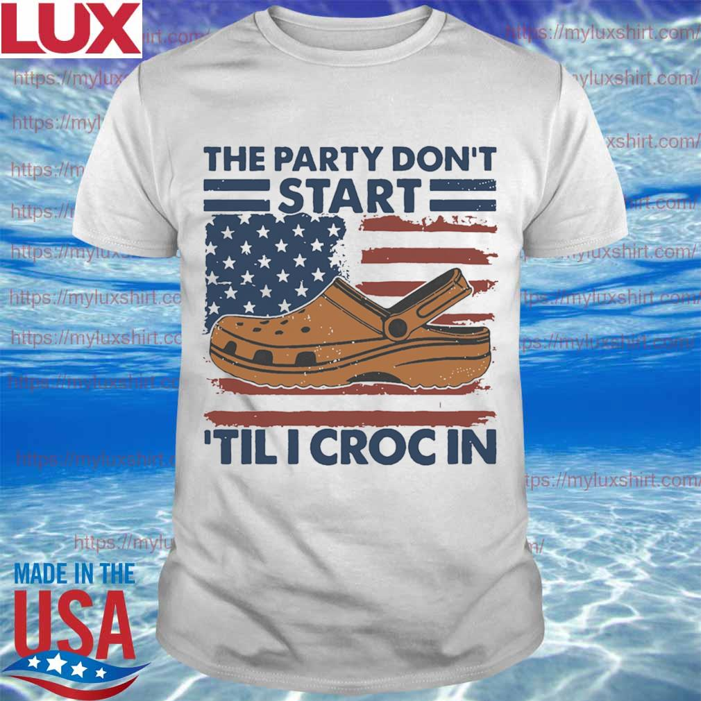 The Party don't start Tili Croc in American flag shirt