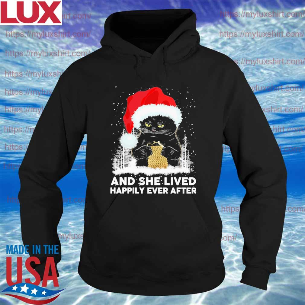 Santa Black Cat Crochet and she lived happily ever after Christmas s Hoodie