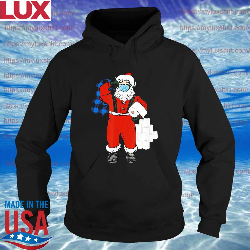 Santa With Face Mask And Toilet Paper Christmas Shirt Hoodie