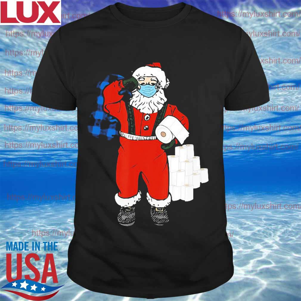 Santa With Face Mask And Toilet Paper Christmas Shirt