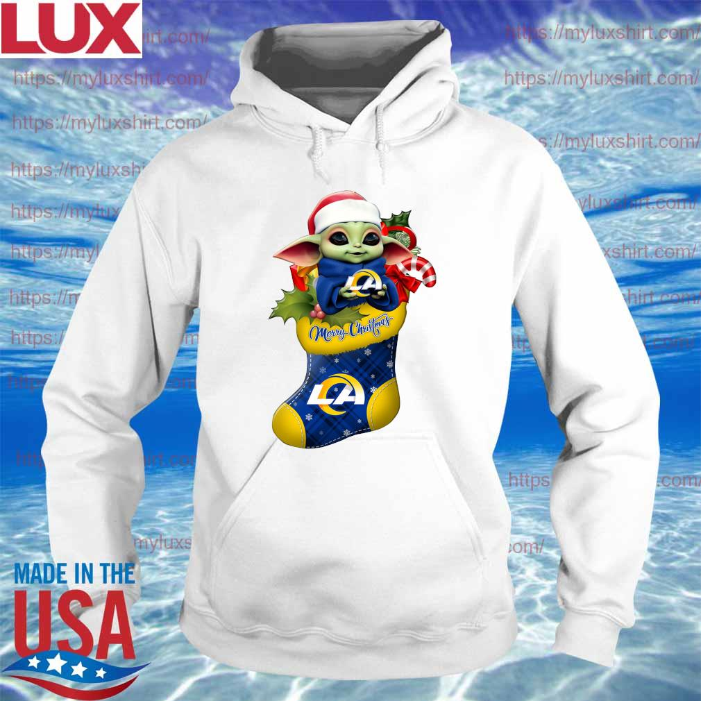 Baby Yoda Hug Los Angeles Rams Ornament Merry Christmas 2020 Shirt Hoodie