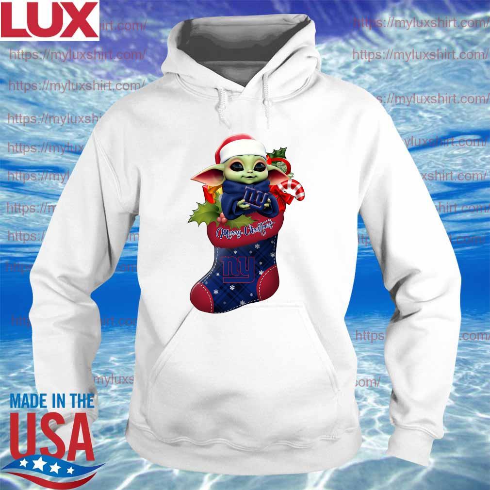 Baby Yoda Hug New York Giants Ornament Merry Christmas 2020 Shirt Hoodie