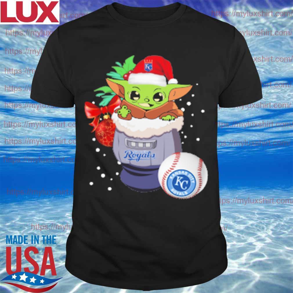 Kansas City Royals Christmas Baby Yoda Star Wars Funny Happy MLB T-Shirt