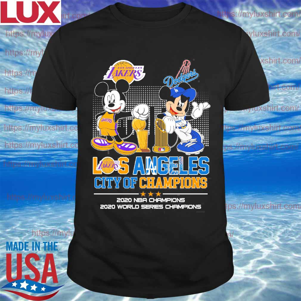 Mickey Mouse Disney Love LA Lakers and Dodgers city Champions 2020 shirt