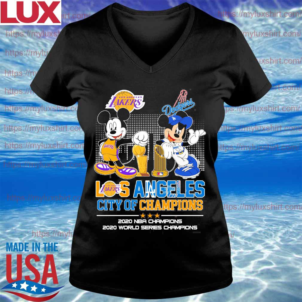 Mickey Mouse Disney Love LA Lakers and Dodgers city Champions 2020 s V-neck