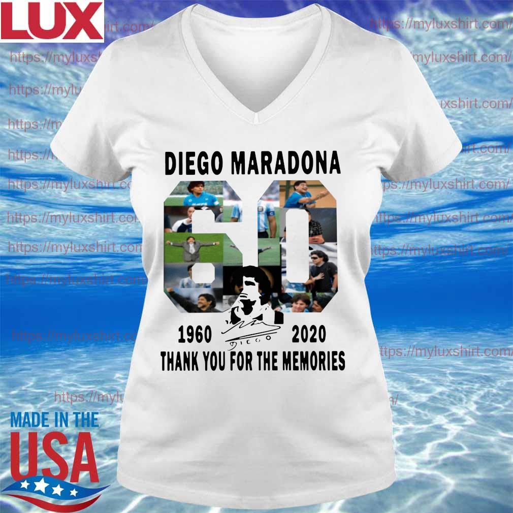 Official Diego Maradona 1960-2020 Thanks You For The Memories signature Shirt V-neck