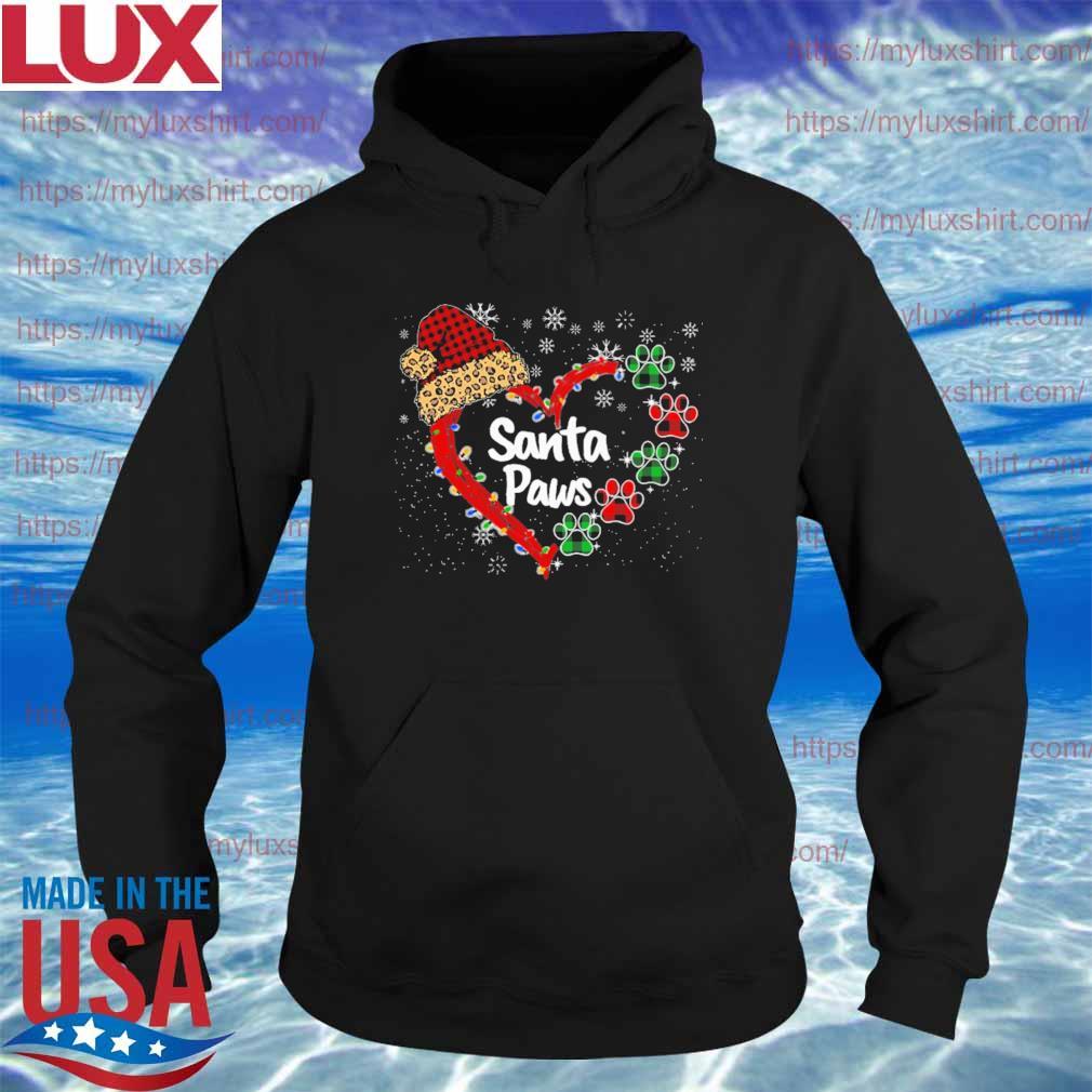 Hat Santa Paws heart Merry Christmas s Hoodie