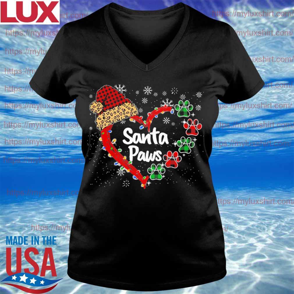 Hat Santa Paws heart Merry Christmas s V-neck