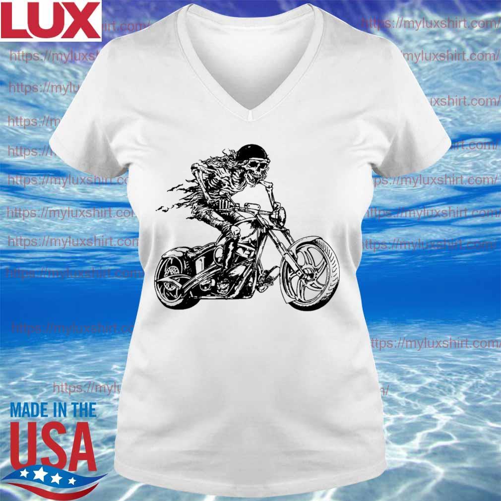 Motorcycle Rider Graphic Skull Design Biker s V-neck