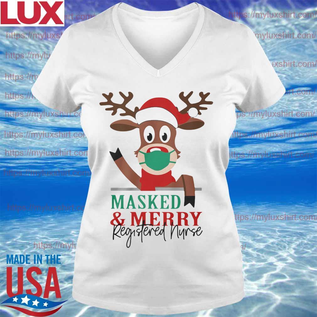 Official Reindeer Face Mask Masked And Merry Registered Nurse Christmas s V-neck