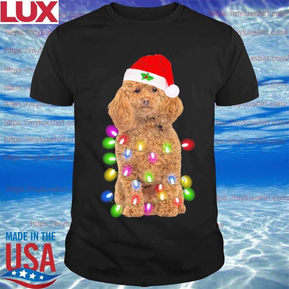 Poodle Santa Hat Christmas Light sweatshirt