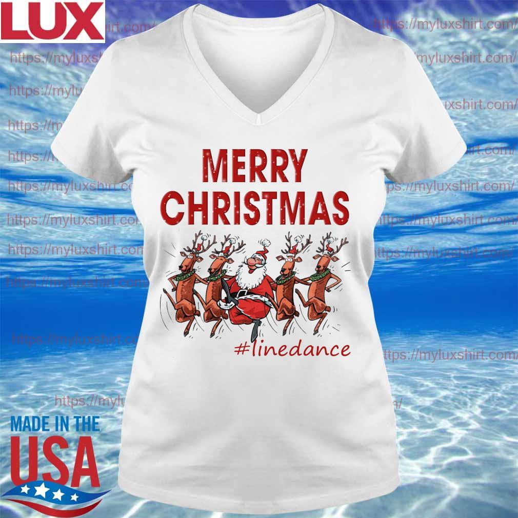 Santa Claus Reindeer Merry Christmas #Line Dance s V-neck