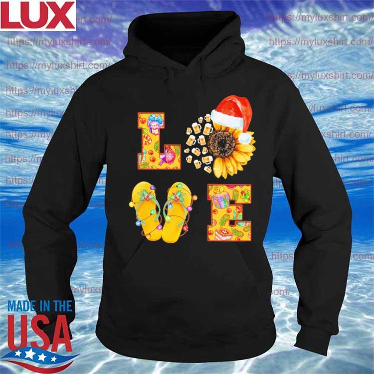 Beer Sunflower Santa Claus Flip Flop Love Merry Christmas s Hoodie