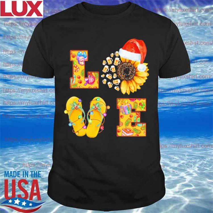 Beer Sunflower Santa Claus Flip Flop Love Merry Christmas shirt