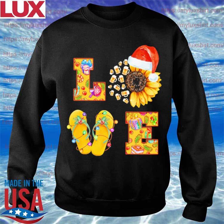 Beer Sunflower Santa Claus Flip Flop Love Merry Christmas s Sweatshirt