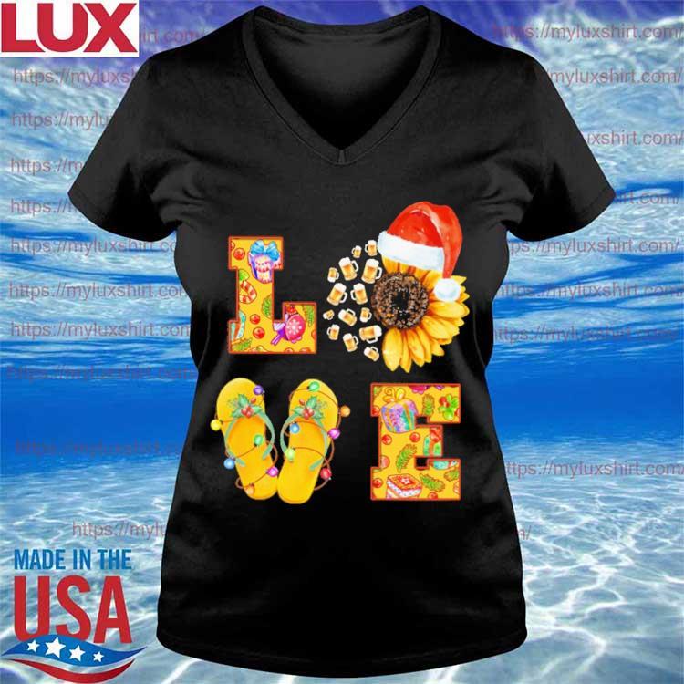Beer Sunflower Santa Claus Flip Flop Love Merry Christmas s V-neck